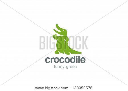 Crocodile Logo abstract design vector Alligator reptile icon