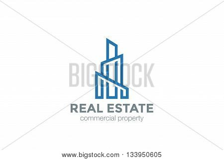Real Estate Logo Skyscraper Linear Building construction finance