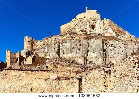 Castle of Morella province of Castellon Valencian Community Spain. Morella Castle was declared a monument of artistic and historical importance.
