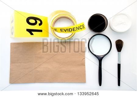 magnifying glass brush evidence marker for detection of latent fingerprint tool in crime scene isolated on white background