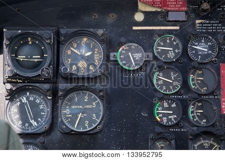 old helicopter cockpit instrument panel in flight