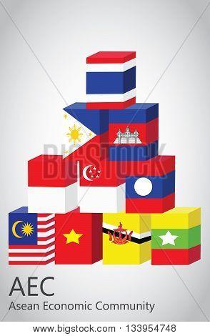asean flag box concept EPS file .