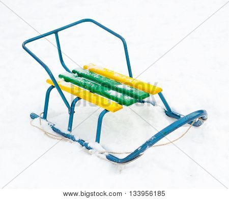 wooden sledge isolated on a white background