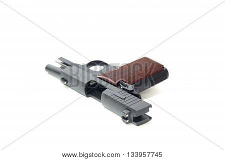 slide hold and open  ejection hole of pistol isolated on white background