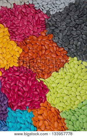 Plenty Of Candy Dragees, Colorful Chocolate On Background