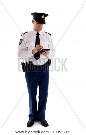 Dutch Police Officer Filling Out Parking Ticket.