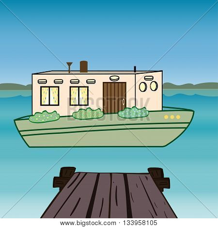 House water. Houseboat floating  river. History Amsterdam Netherlands