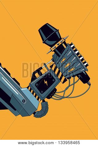 Rock music poster wit a robot hand holdin a microphone