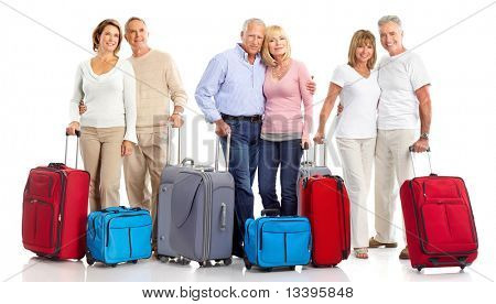 Senior couple travelers with bags. Isolated over white background poster