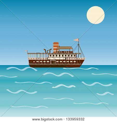 Water transport travel  ship across sea river ocean. Cruise. A beach holiday. Vector illustration
