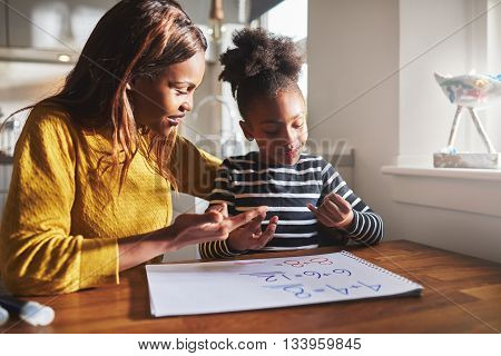 Black Mom And Child Doing Homework