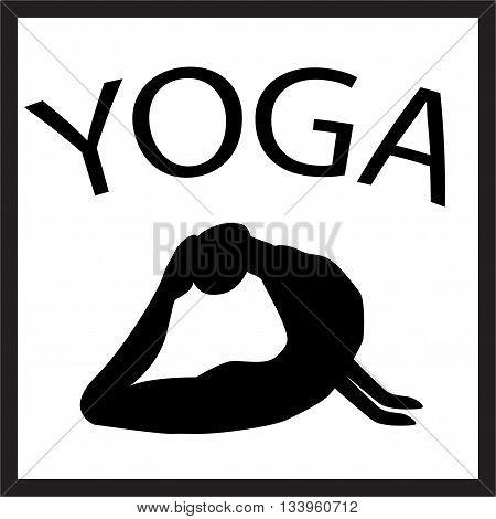 Girl in yoga position. Black female silhouette on white background. Vector woman shape icon. illustration of Yoga pose. Logo design. Yogi in asana. Design element for poster studio fitness center.
