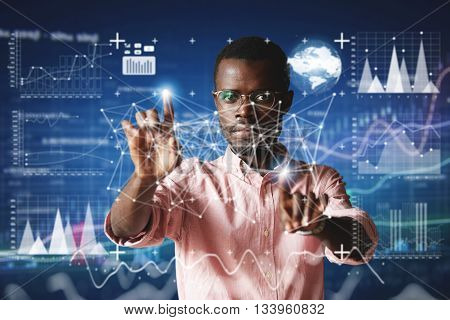 Futuristic Technology. Double Exposure. Portrait Of African Employee In Glasses, Looking At The Came