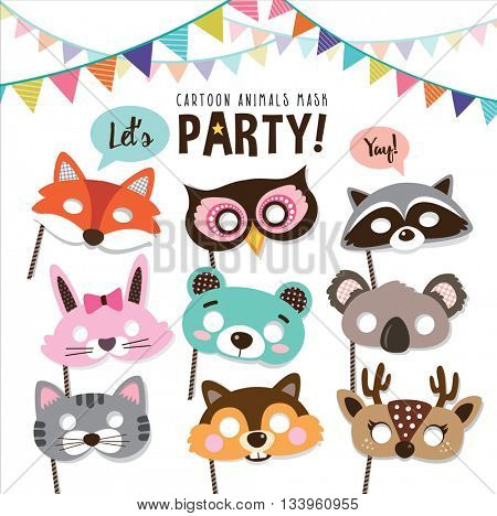 Set of cartoon animals party masks