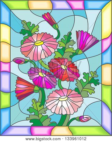 Illustration in stained glass style with flowers buds and leaves of Marguerite