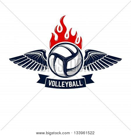 Volleyball tournament emblem template. Design elements for logo label emblem sign badge.
