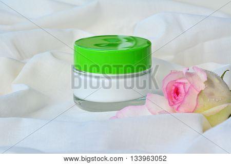 Cosmetic cream relaxing skin moisturizer nourishment in glass jar.
