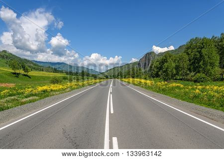 Bright picturesque view with the asphalt road mountains trees and meadows with yellow wildflowers on a background of blue sky and clouds