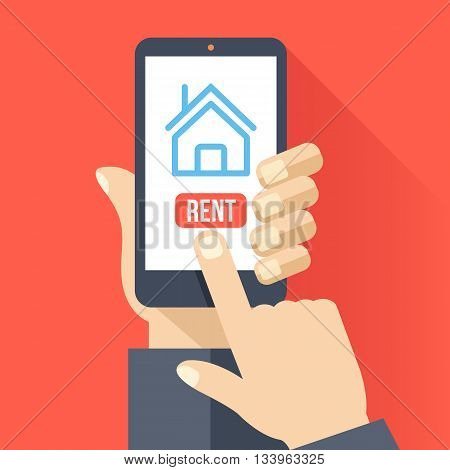 Home icon on smartphone screen. Hand hold smartphone, finger touch screen. Rent apartments, homes app. Modern concept for web banner, web sites, infographics. Creative flat design vector illustration