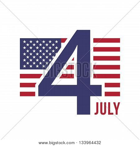 Fourth of July american independence day badge. American flag and number 4. Official color scheme. Flat design graphics for web banners, websites, infographics, printed materials. Vector illustration