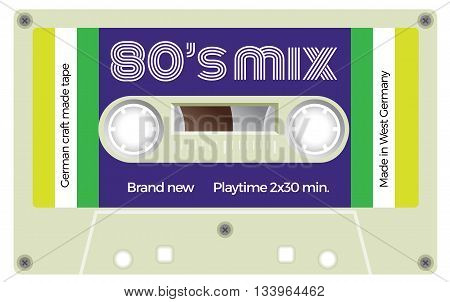 Vintage Cassette With Lettering Title. Eighties Mix.