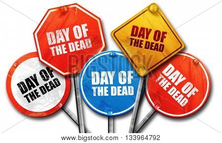 day of the dead, 3D rendering, street signs, 3D rendering, stree