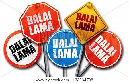 the Dalai lama, 3D rendering, street signs