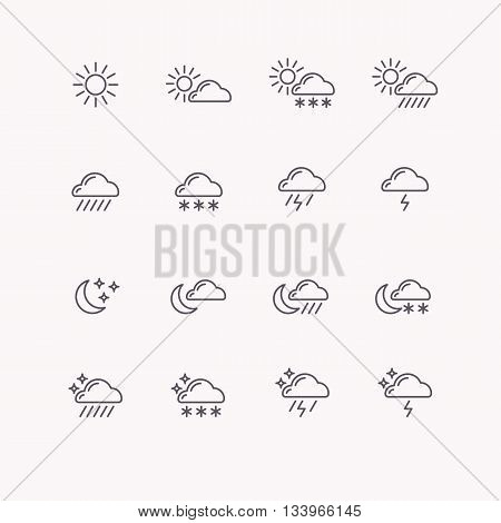 Set of vector line icons weather. Flat image, sun, clouds, rain, moon and vector stars.