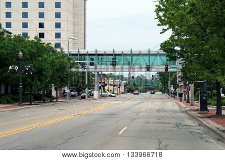 JOLIET, ILLINOIS / UNITED STATES - MAY 24, 2015: The pedestrian bridge, in downtown Joliet, Illinois, between Harrah's Casino and a parking garage