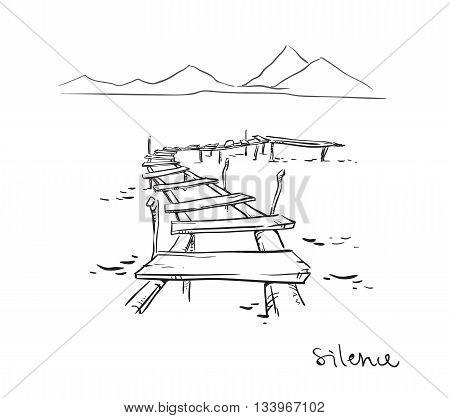 Silence. Line drawing.Vector illustration fully editable EPS 10