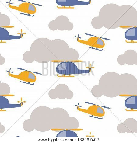 Cartoon helicopter in sky seamless vector pattern. Blue and yellow copter in the grey clouds on white background. Minimalist style textile fabric boy child ornament.