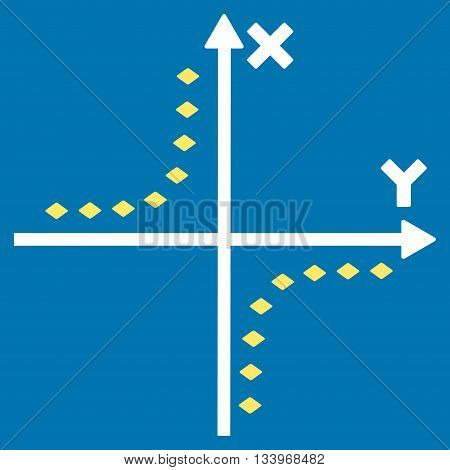 Dotted Hyperbola Plot vector toolbar icon. Style is bicolor flat icon symbol, yellow and white colors, blue background, rhombus dots.