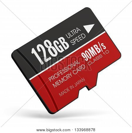 3D render illustration of high speed 128 GB Class 10 professional MicroSD flash memory card for usage in smartphones, tablet computer PC, mobile phones, photo cameras and other devices isolated on white background