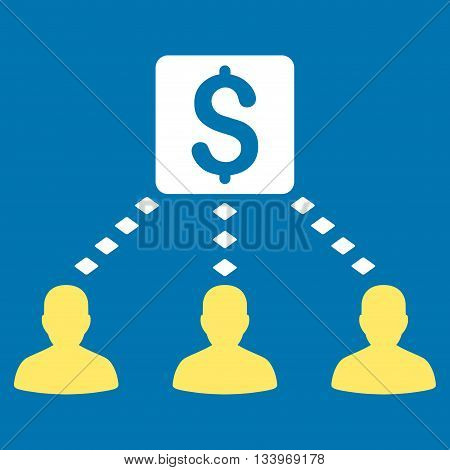 Money Recipients vector toolbar icon. Style is bicolor flat icon symbol, yellow and white colors, blue background, rhombus dots.