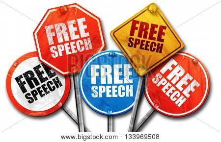 free speech, 3D rendering, street signs