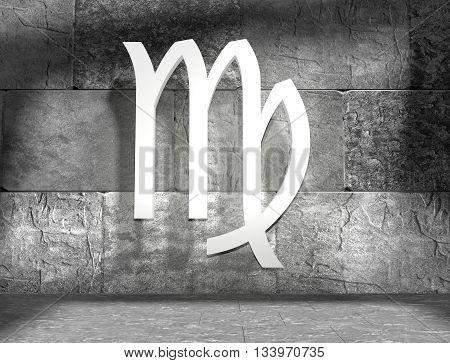 Maiden astrology sign. Empty concrete interior. 3D rendering