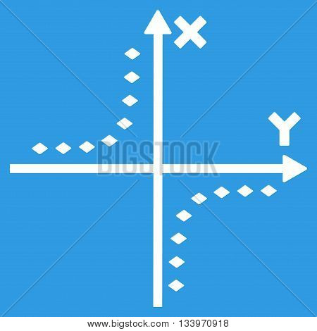 Dotted Hyperbola Plot vector toolbar icon. Style is flat icon symbol, white color, blue background, rhombus dots.