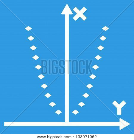 Dotted Parabola Plot vector toolbar icon. Style is flat icon symbol, white color, blue background, rhombus dots.