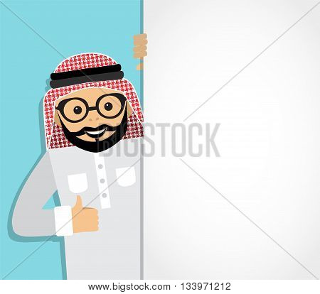 arab businessman looks out from behind a white background and shows an unfilled hand