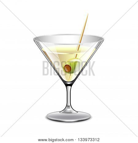 Martini in glass isolated on white photo-realistic vector illustration