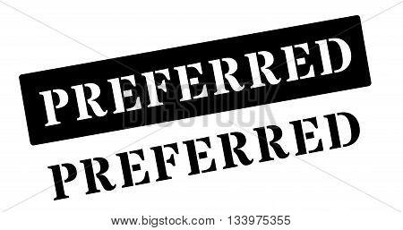 Preferred Black Rubber Stamp On White