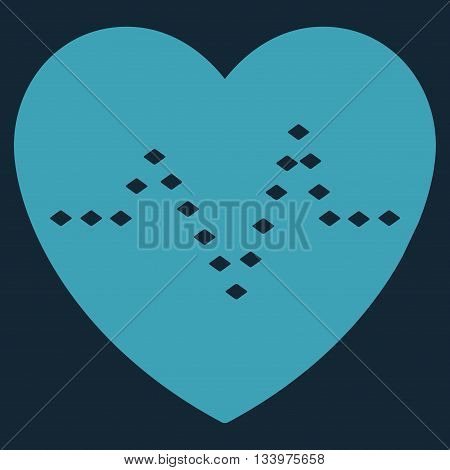 Dotted Heart Pulse vector toolbar icon. Style is flat icon symbol, blue color, dark blue background, rhombus dots. poster