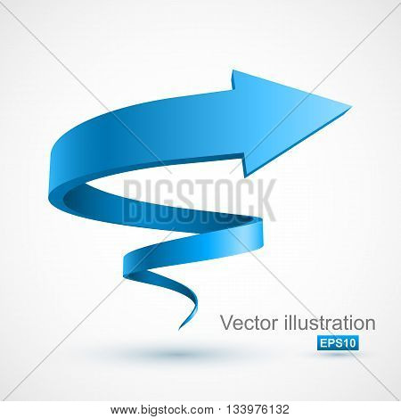 Blue spiral arrow 3D. Vector Illustration EPS 10