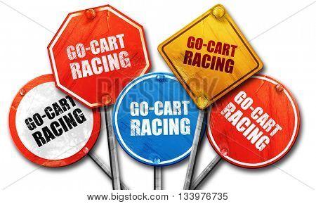 go cart racing, 3D rendering, street signs
