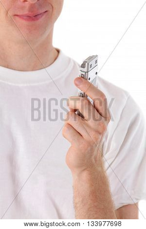 man talk in voice recorder on white background