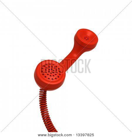 Red retro telephone tube isolated on white background