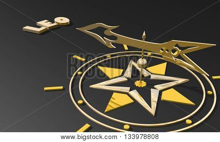 The lion astrology sign. Golden compass arrow point to astrological symbol name. 3D rendering