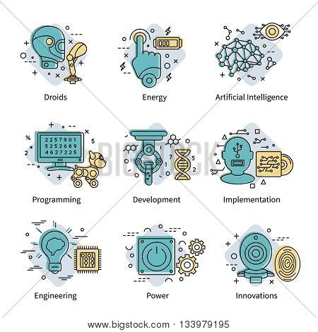 Artificial intelligence colored icon set with descriptions of droids energy programming development power and others vector illustration