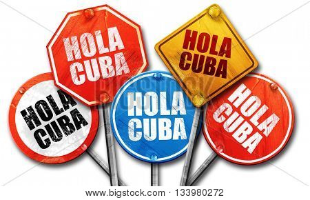 hola cuba, 3D rendering, street signs