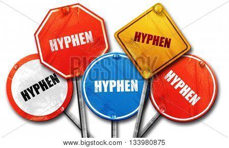 hyphen, 3D rendering, street signs